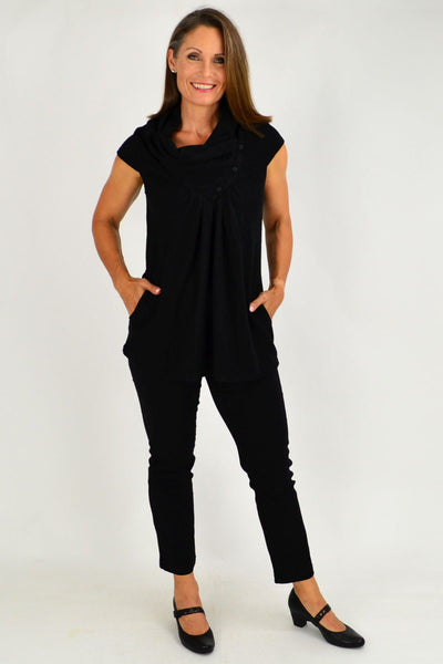 Black Sleeveless Winter Tunic