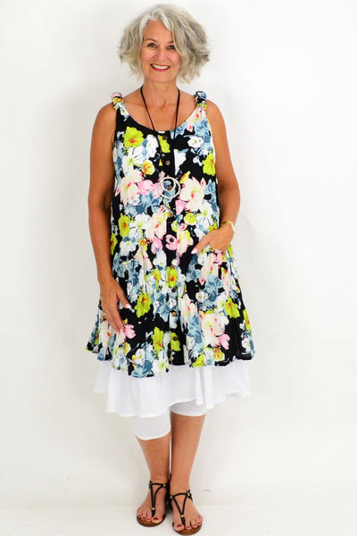 Black Falice Floral Tunic Dress