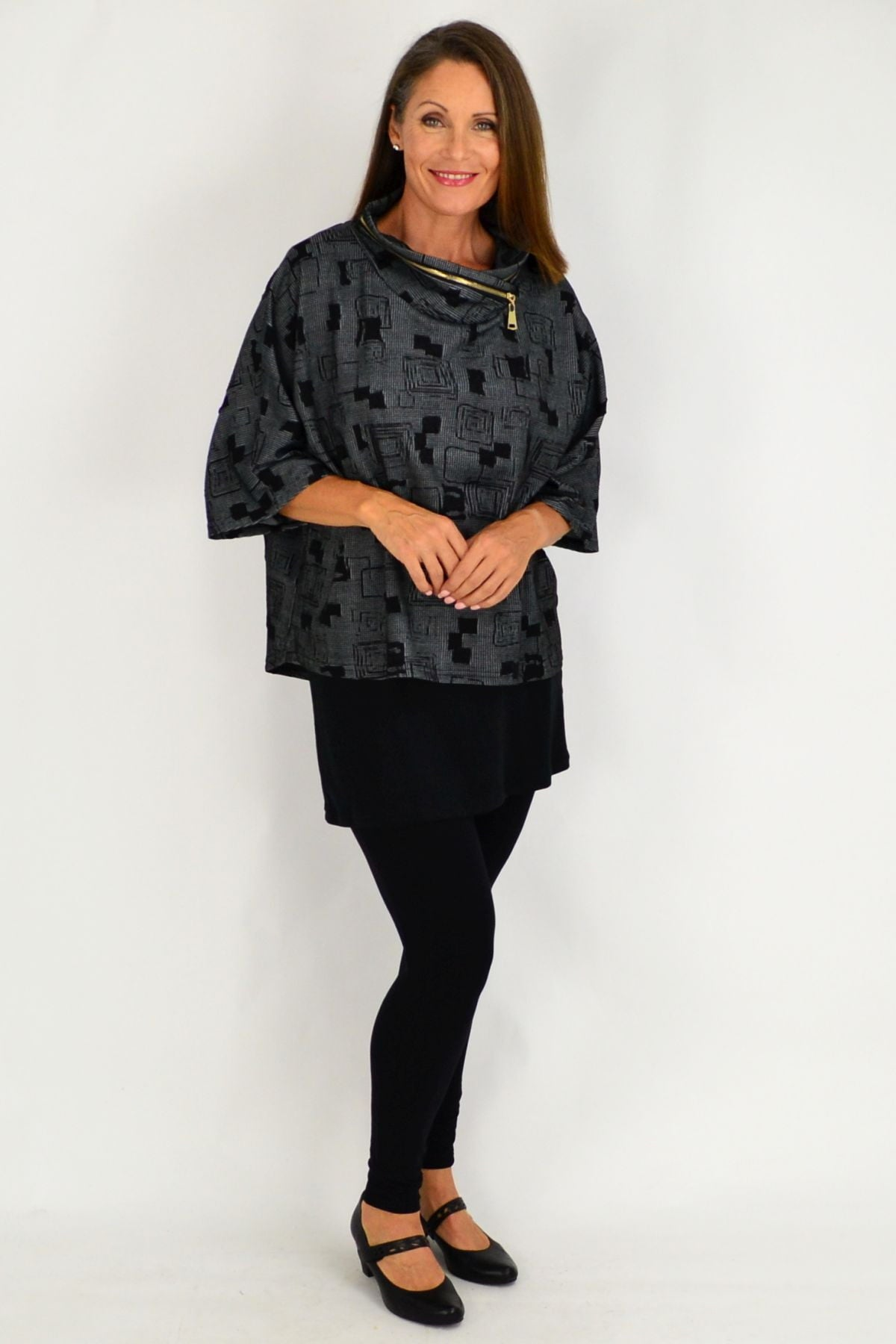 Black Grey Pattern Eve Relaxed Tunic Cardigan | I Love Tunics | Tunic Tops | Tunic | Tunic Dresses  | womens clothing online