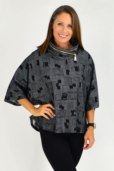 Black Grey Pattern Eve Relaxed Tunic Cardigan | I Love Tunics | Tunic Tops | Tunic Dresses | Women's Tops | Plus Size Australia | Mature Fashion