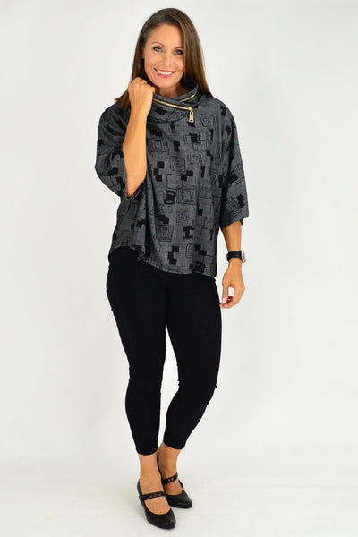 Black Grey Pattern Eve Relaxed Tunic Cardigan