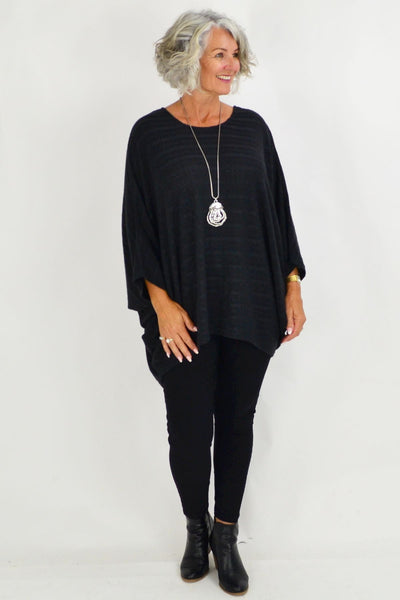 Mandy Charcoal Textured Knit Tunic