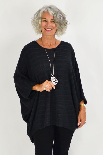Mandy Charcoal Textured Knit Tunic | I Love Tunics | Tunic Tops | Tunic Dresses | Women's Tops | Plus Size Australia | Mature Fashion