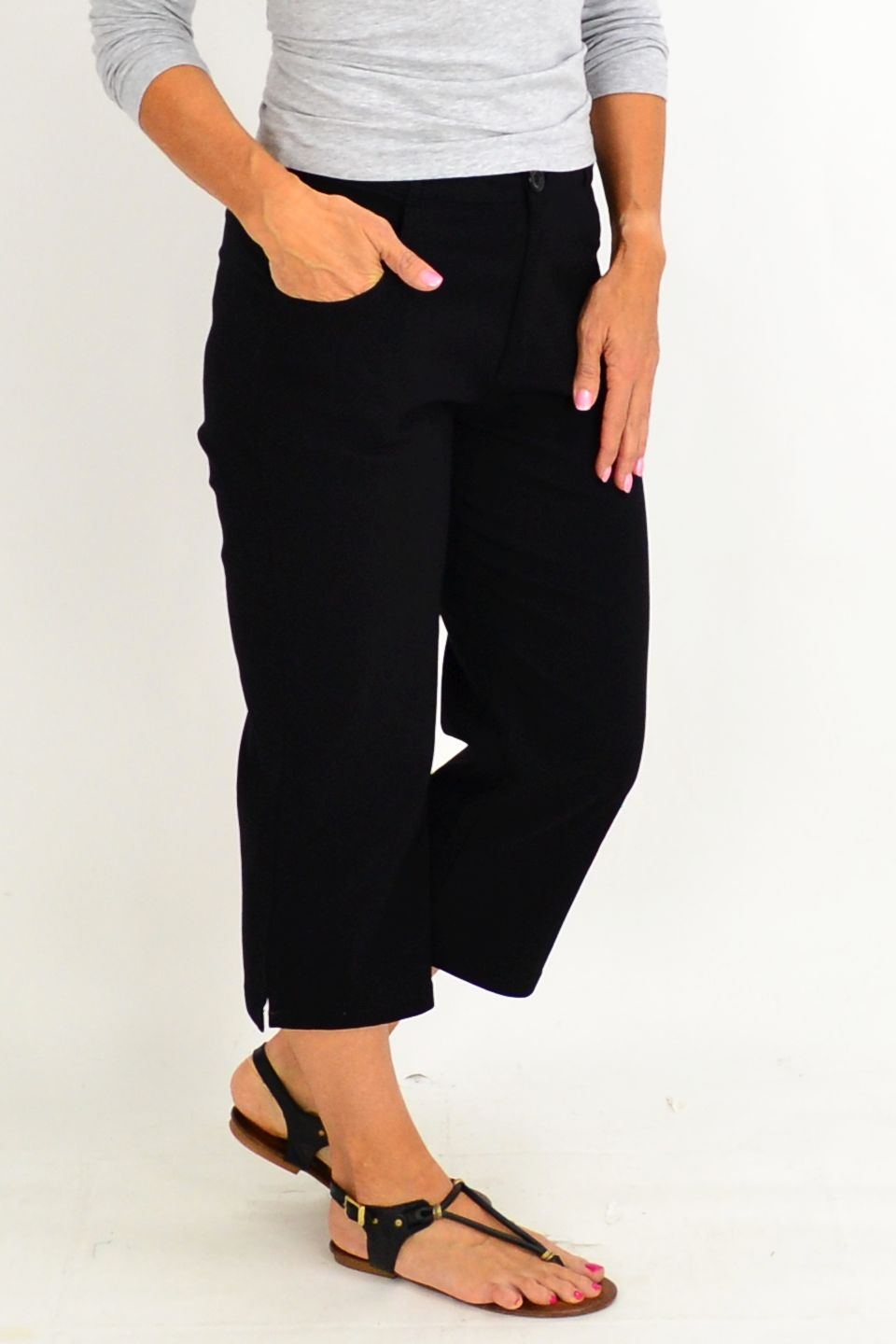 Black Wide Leg 3/4 Pants | I Love Tunics | Tunic Tops | Tunic | Tunic Dresses  | womens clothing online
