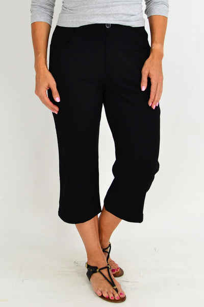 Black Wide Leg 3/4 Pants