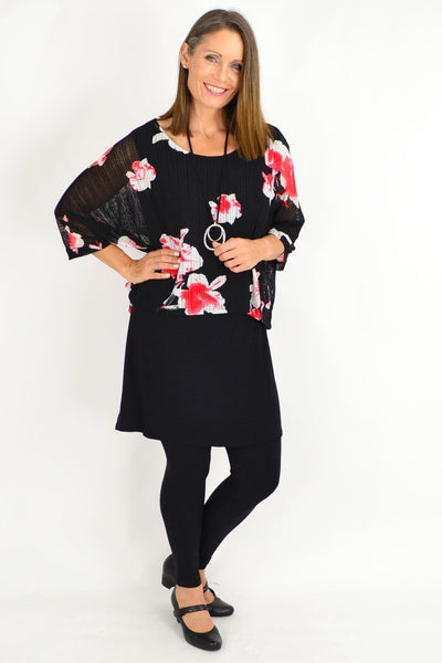 Frans Floral Overlay Tunic Top