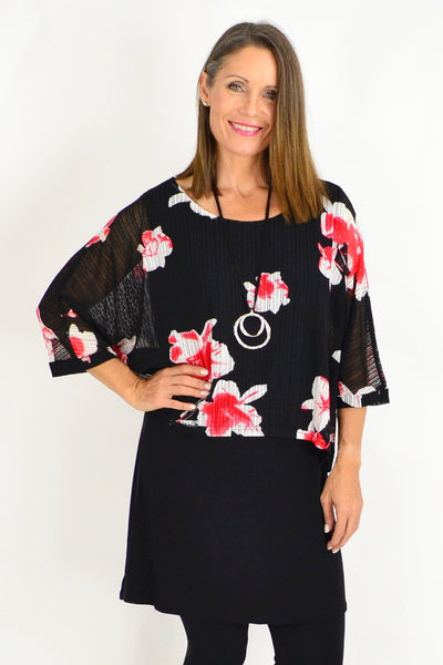 Frans Floral Overlay Tunic Top | I Love Tunics | Tunic Tops | Tunic | Tunic Dresses  | womens clothing online
