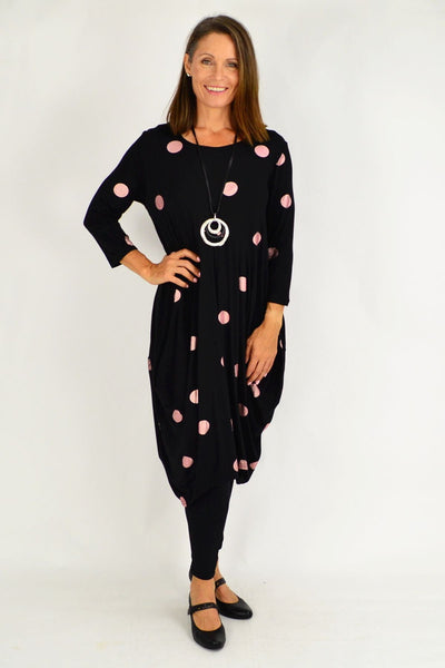 Black Lara Pink Spot Tunic Dress