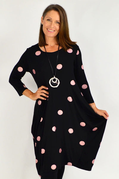 Black Lara Pink Spot Tunic Dress | I Love Tunics | Tunic Tops | Tunic Dresses | Women's Tops | Plus Size Australia | Mature Fashion