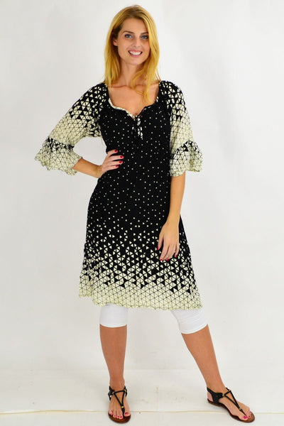 Black Triangle Crinkle Tie Tunic Dress