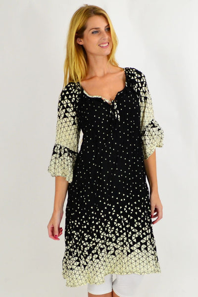long black white triangles dress i love tunics
