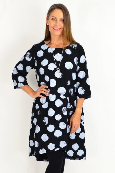 Black Ruby Spot Tunic Dress | I Love Tunics | Tunic Tops | Tunic Dresses | Women's Tops | Plus Size Australia | Mature Fashion
