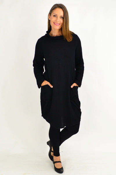 Black Cowl Neck Cotton Tunic Top
