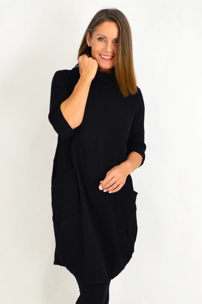 Black Cowl Neck Cotton Tunic Top | I Love Tunics | Tunic Tops | Tunic | Tunic Dresses  | womens clothing online
