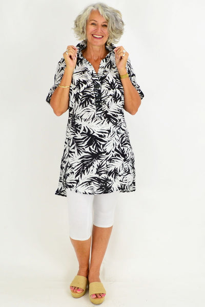 Black Palm Tunic Shirt