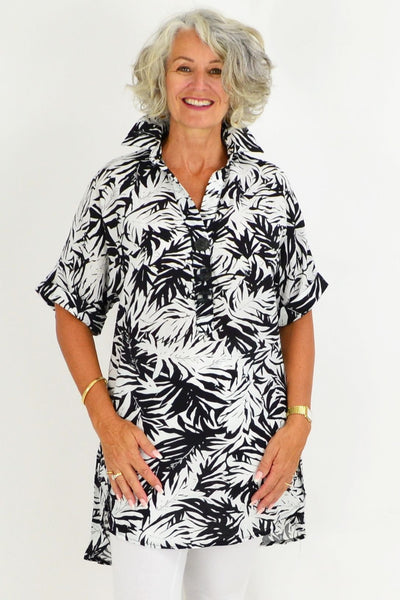 Black Palm Tunic Shirt | I Love Tunics | Tunic Tops | Tunic | Tunic Dresses  | womens clothing online