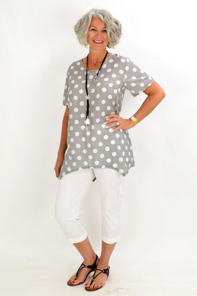Black White Stacey Spot Tunic Blouse