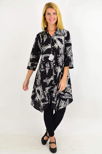 Black White Print Stand Collar Long Shirt