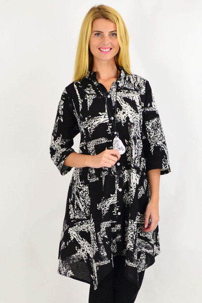 Black White Print Stand Collar Long Shirt | I Love Tunics | Tunic Tops | Tunic | Tunic Dresses  | womens clothing online