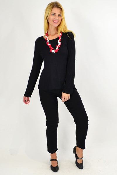 Black Button Up Long Sleeve Basic Top