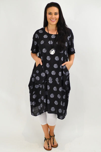Black Dots Bubble Tunic Dress | I Love Tunics | Tunic Tops | Tunic | Tunic Dresses  | womens clothing online