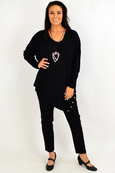 Black My Go To Knit Tunic Jumper