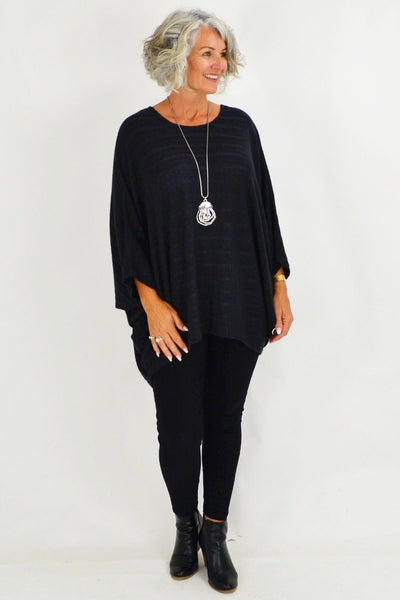 Mandy Black Textured Knit Tunic