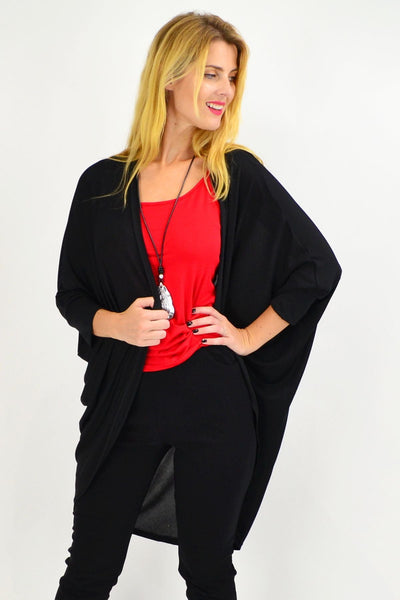 Black Round Batwing Freesize Cardigan - I Love Tunics