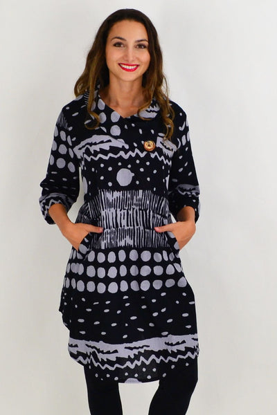 Grey Spots and Dots Tunic Dress | I Love Tunics | Tunic Tops | Tunic | Tunic Dresses  | womens clothing online