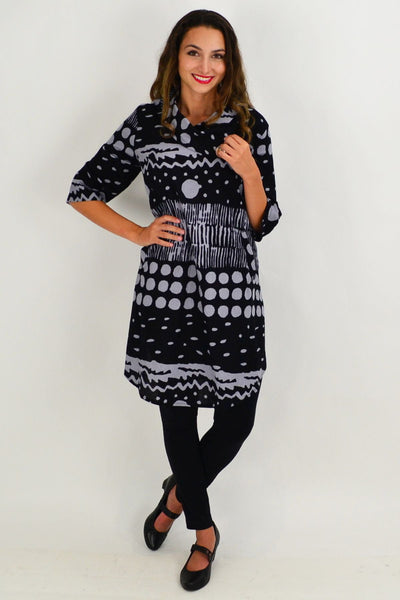 Grey Spots and Dots Tunic Dress