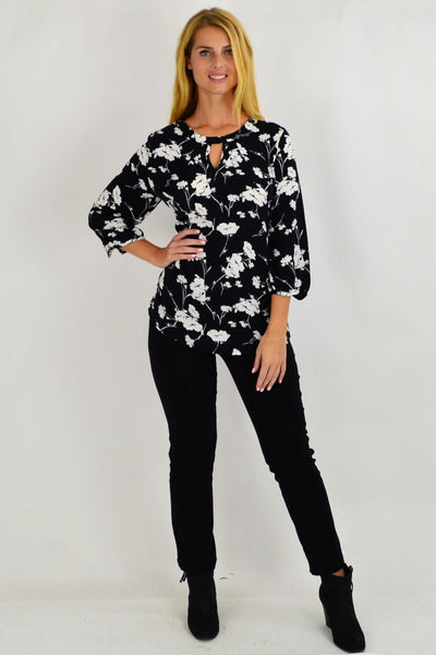 Whitney White Flower Tunic