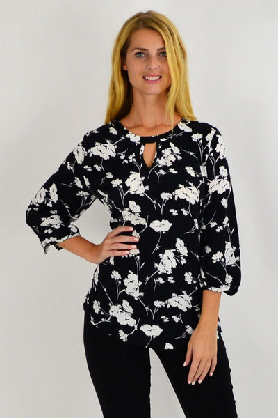 Whitney White Flower Tunic | I Love Tunics | Tunic Tops | Tunic Dresses | Women's Tops | Plus Size Australia | Mature Fashion