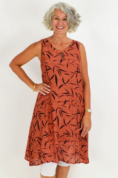 Rust Lily Leaf Tunic Dress | I Love Tunics | Tunic Tops | Tunic | Tunic Dresses  | womens clothing online
