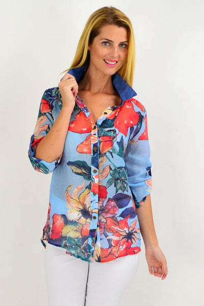 Trendy Orange Flower Tunic Shirt