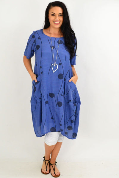 Denim Blue Debs Dots Bubble Tunic Dress