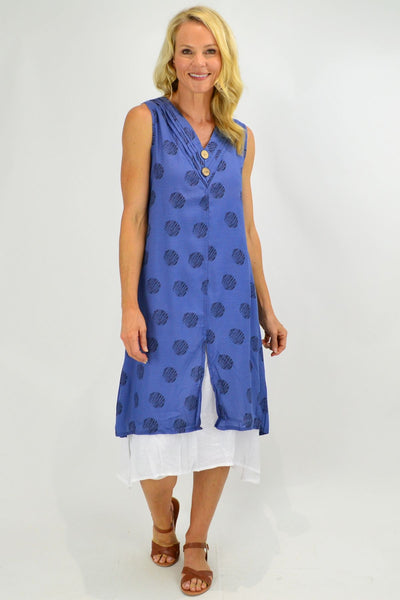 Sleeveless Denim Blue Dots Overlay Tunic Dress