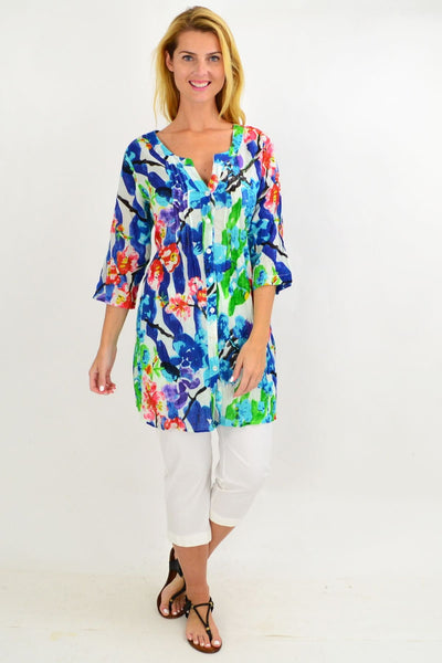Blue Crinkle Evie Tunic Shirt