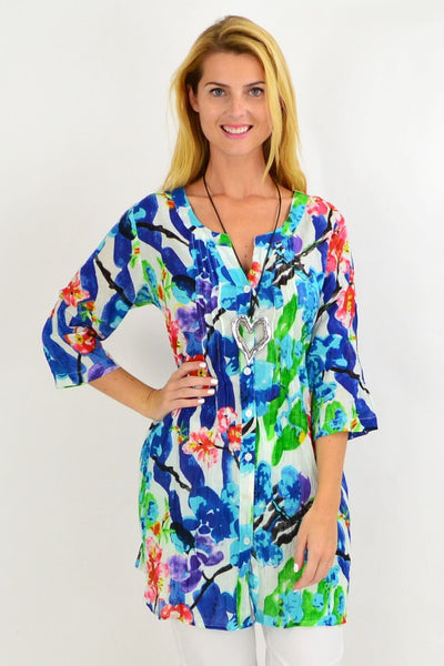 Blue Crinkle Evie Tunic Shirt | I Love Tunics | Tunic Tops | Tunic | Tunic Dresses  | womens clothing online