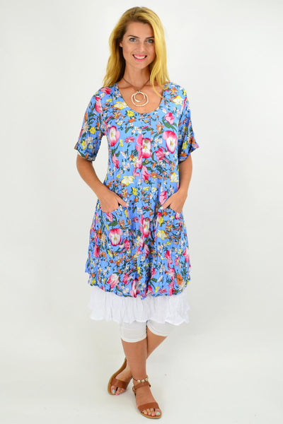 Blue Ellie Floral Crinkle Tunic Dress | I Love Tunics | Tunic Tops | Tunic | Tunic Dresses  | womens clothing online