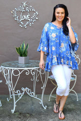 Wide Sleeve Blue Floral Tunic Top | I Love Tunics | Tunic Tops | Tunic | Tunic Dresses  | womens clothing online