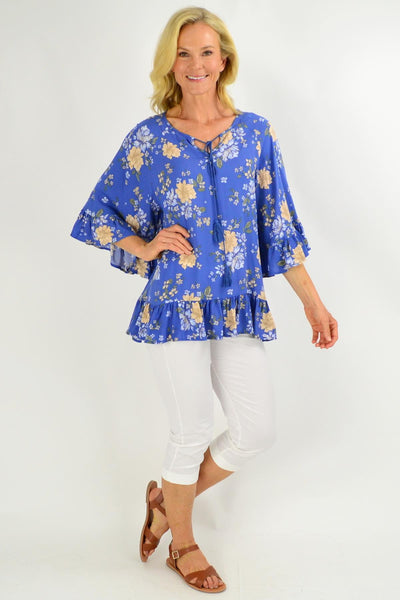 Wide Sleeve Blue Floral Tunic Top