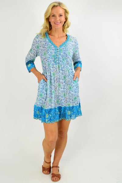 Faro V Neck Pleated Tunic Dress