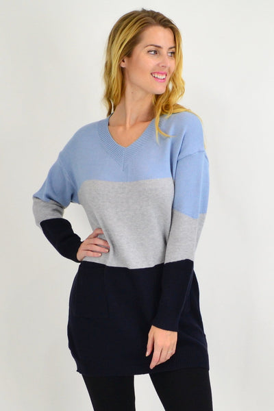 Blue V neck Woolly Winter Tunic Jumper