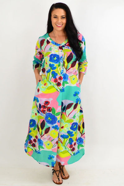 Blue Flower One Summer Maxi Tunic Dress