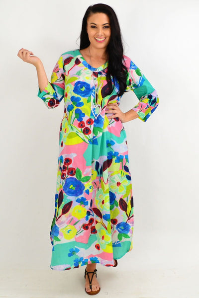 Blue Flower One Summer Maxi Tunic Dress | I Love Tunics | Tunic Tops | Tunic | Tunic Dresses  | womens clothing online