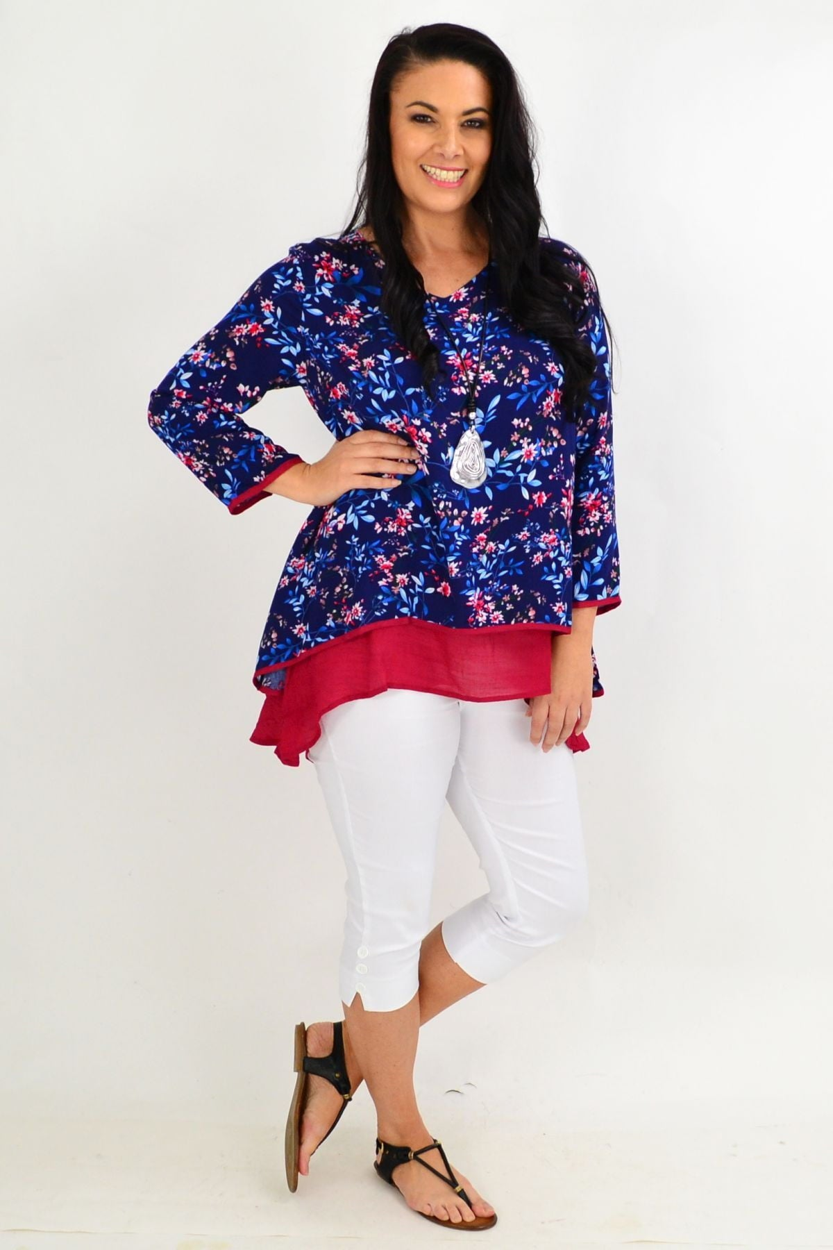 Navy & Red Floral Layered Tunic Top