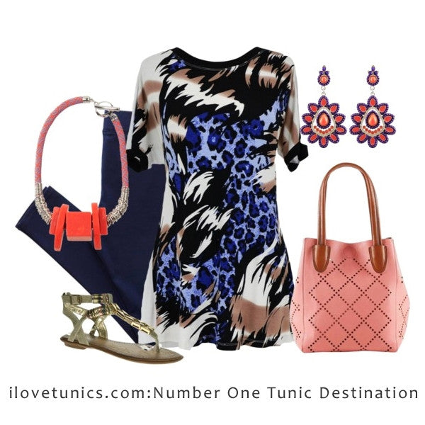 Blue Leopard Tunic - at I Love Tunics @ www.ilovetunics.com = Number One! Tunics Destination