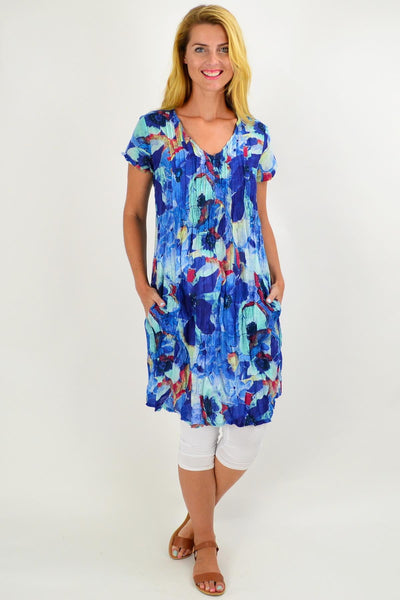 Ocean Flower Cap Sleeve Tunic Top