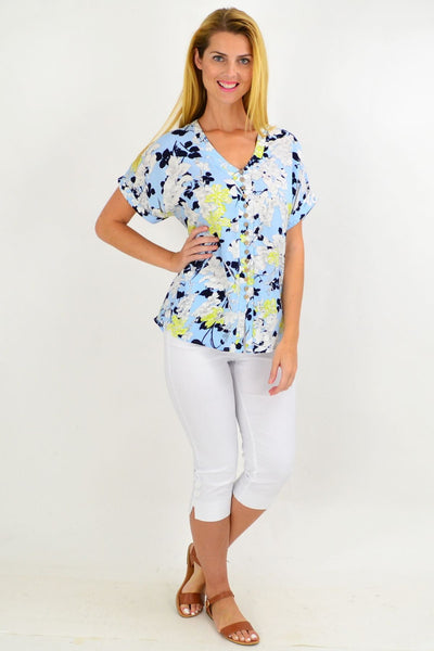 Blue Short Flower Tunic Top