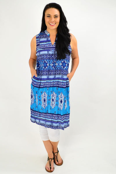 Cotton Blue Stripe Tunic Dress
